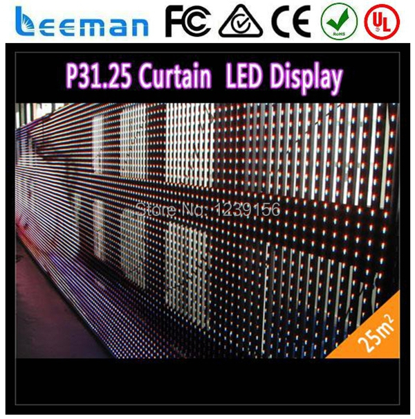 2015 Leeman transparent good vivid effect program led strip mesh curtain screen P10/P12/P16/P20/P31.75/P37.5/P40mm(China (Mainland))