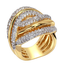 Buy Woven Design Rhodium 2 Tones Gold-Color Luxury Women Wedding Rings Synthetic Cubic Zirconia Environmental Friendly Ring for $15.50 in AliExpress store