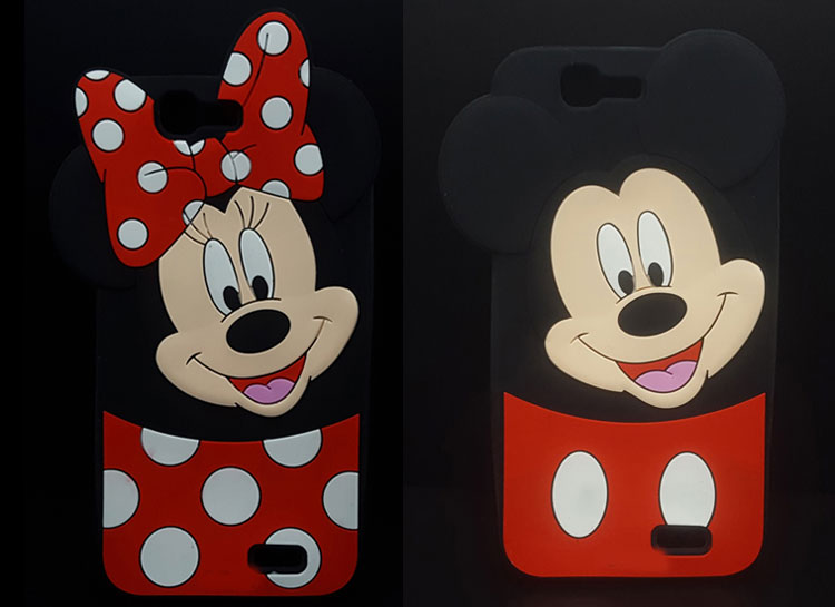 Fashion 3D Cartoon Mickey Minnie Mouse Polka Dot Soft Silicon Case For Huawei Ascend G7/Huawei G7 Rubber Cover shell phone cases(China (Mainland))