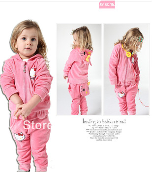 New arrival 4sets/lot fashion popular baby girl kitty suits kids lovely sets top+pants 2pcs set 2colors baby wear