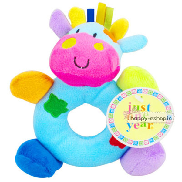 2016 Hot Cute Baby Girls Boys Infant Hand Rattles Animal Soft Plush Doll Educational Toys 0+ Cow stlye - HAPPYGO BABY store