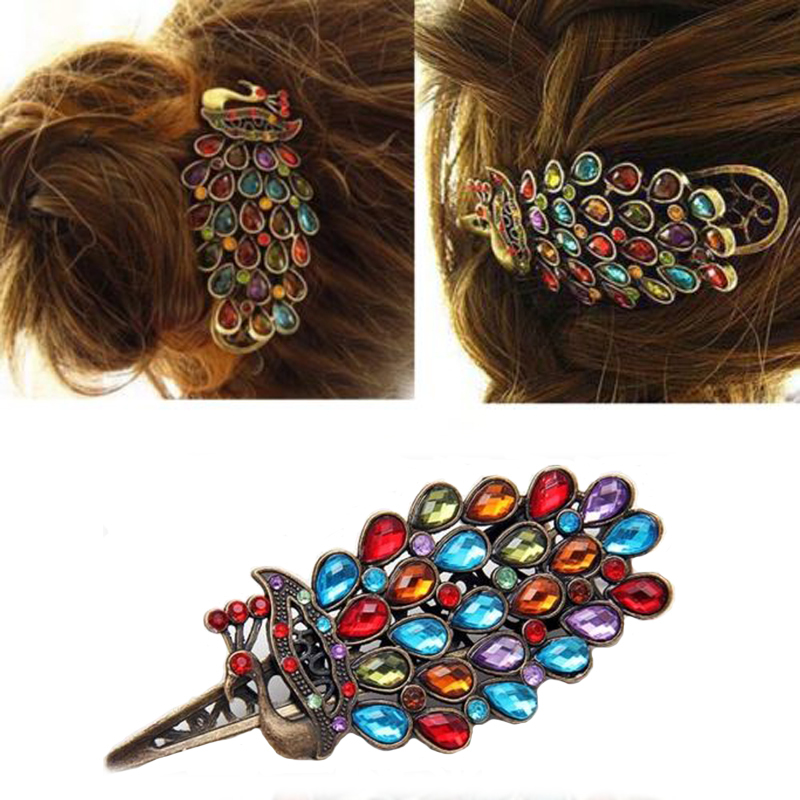 1 x Fashion Girls Women Vintage  Colorful Rhinestone Peacock Hairpin Hair Clip New 2015(China (Mainland))