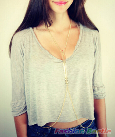 2015 Europe America Style Hot Sexy Body Chain Women Golden Bikini Chains Fishbone Whole Necklace Tassel - Y&M Business Inc. store