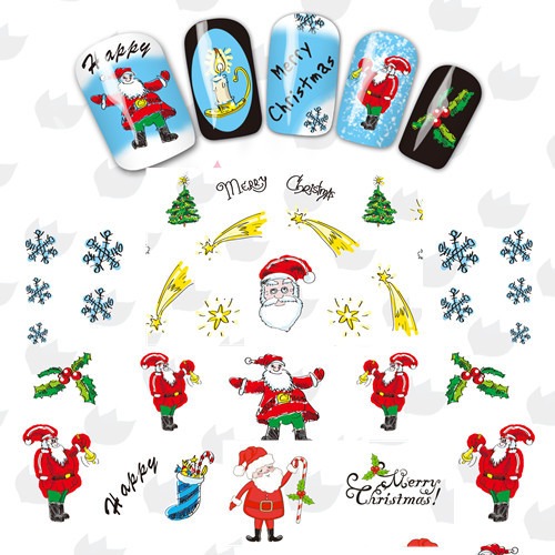 1 sheet Xmas Series Nail Art Water Transfer Foil Nail Decals Nail Wraps Foil Sticker Manicure Decor Decals BLE2325-2335(China (Mainland))