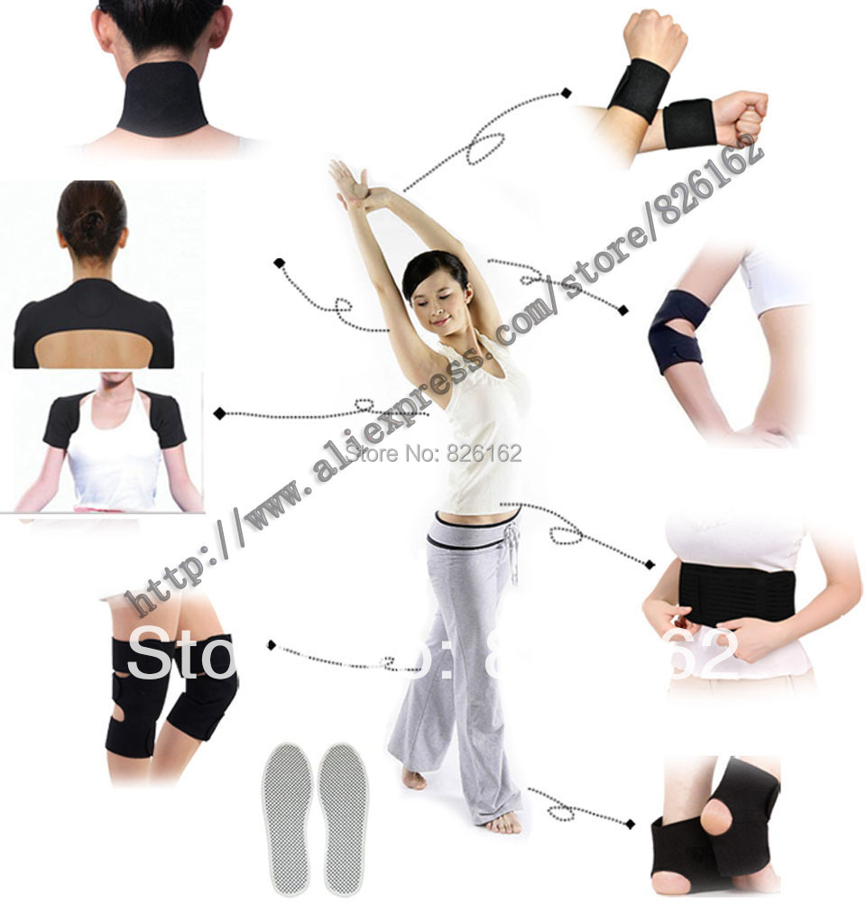Braces & Supports Set Health Care And Relieve Pain Tourmaline Magnetic Therapy 16pcs belt kneepad shoulder neck(China (Mainland))