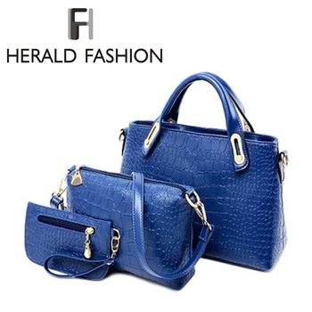 Вестник горячих женщин сумки комплект пу кожаная сумка женщины сумки дизайн дамы сумка + плечо + кошелек 3 компл.