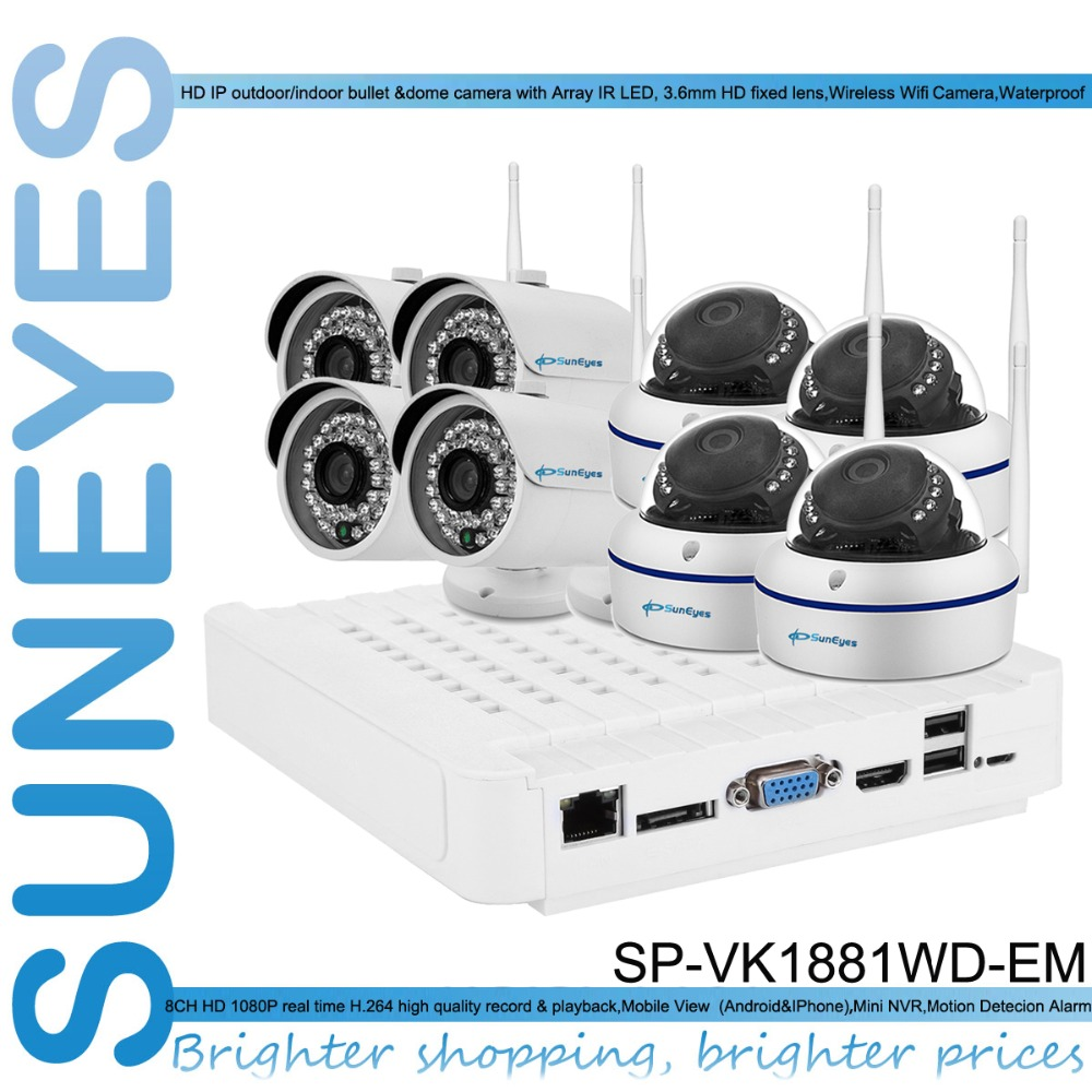 SunEyes SP-VK1881WD-EM 1080P Full HD 8CH IP CCTV Camera NVR Kit with 4pcs Wireless Dome and 4pcs Bullet IP Camera Outdoor 1080P(China (Mainland))