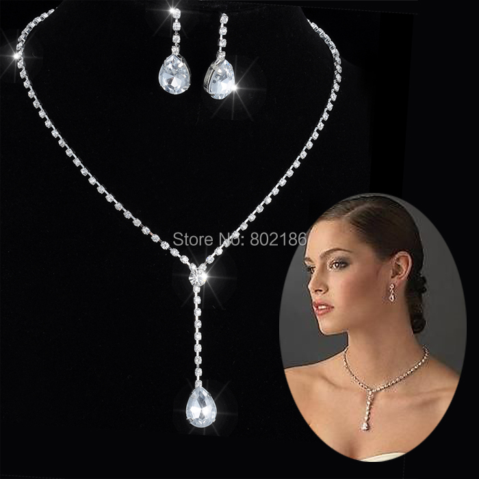 Celebrity Inspired Crystal Tennis Long Necklace Set Earrings Factory Price Wedding Bridal Bridesmaid Jewelry Sets 14F2AF048(China (Mainland))