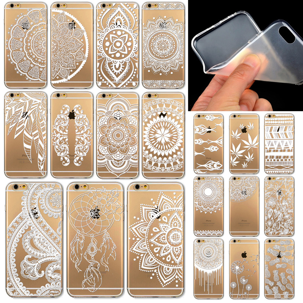 Case for iPhone 6 6s 4.7inch Painted Pattern Flower Henna White Floral Paisley Flower Mandala Tpu Soft Ultra Thin Phone Case(China (Mainland))