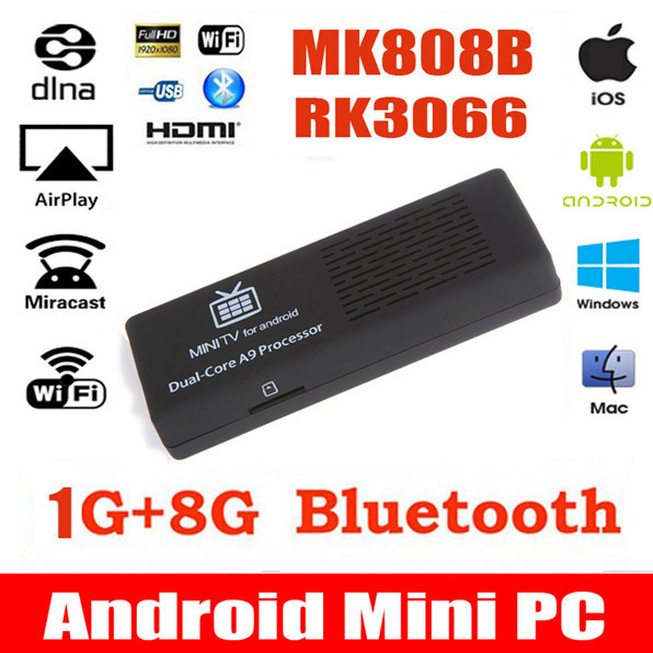 2015 MK808B MK808 Android 4.4.2 HDMI TV Stick TV Dongle RK3066 Dual Core 1GB 8GB Mini PC Android Bluetooth XBMC for mini pc(China (Mainland))