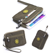 3 Zippers Canvas Waterproof Mobile Phone Pouch for Huawei P9/P9 Plus P8 P8 Lite Outdoor Bag for Below 5.7 inch Mobile Phone