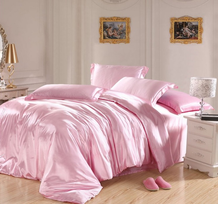 Light Pink Bedding Sets Silk Sheets Satin California King Size Queen Double Q