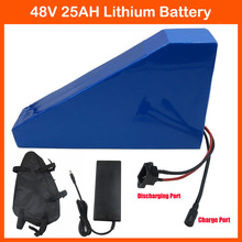 1000W 1400W 48V Electric Bike Battery 48V 25AH triangle Lithium ion battery with Free bag PVC Case 30A BMS 54.6V 2A charger(China (Mainland))