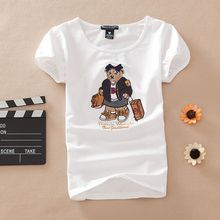 Porta Batom Women Summer Cartoon Letter Printed Short Sleeve 100% Cotton T Shirt Tees Girl Slim Embroidery Tops Steelers Jersey(China (Mainland))