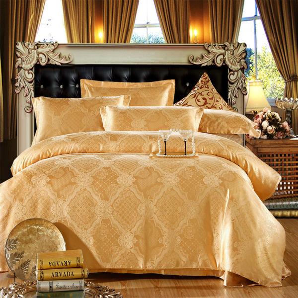 silk cotton jacquard bedding sets royal court style light tan soft feeling linens multi size sheets sets coverlets(China (Mainland))