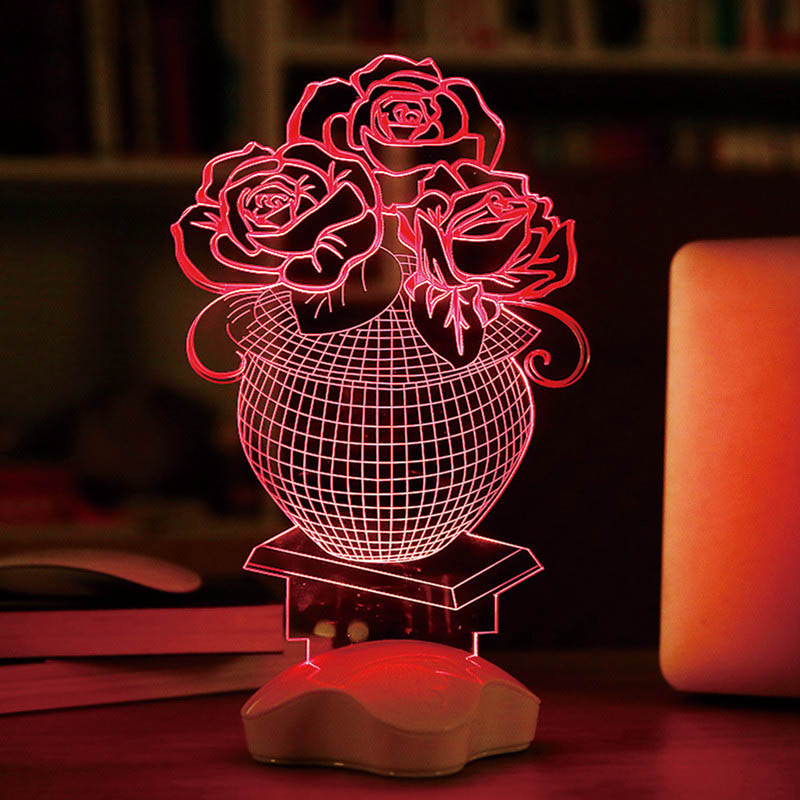 3D Visual Bulb Sculpture Optical Illusion Usb LED Table Lamp Touch Romantic Holiday Night Light Baymax Rose Heart(China (Mainland))
