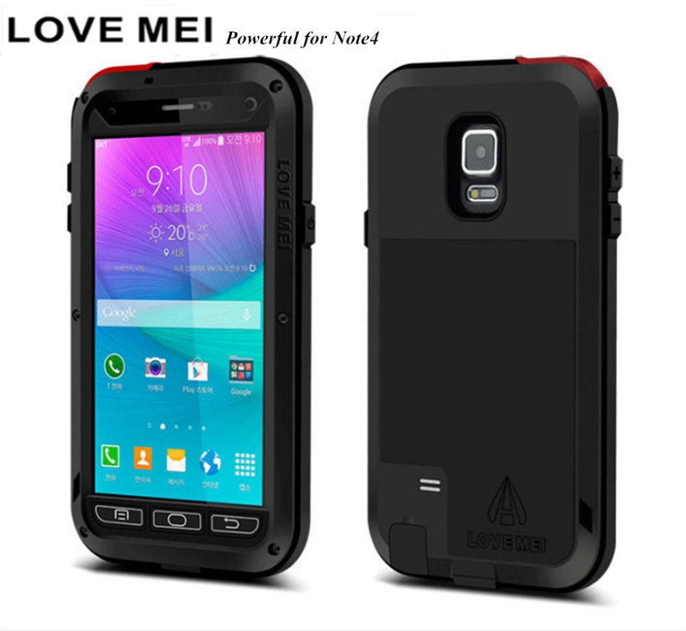 Shell Armor Cell Phone Bag Waterproof Dustproof Drop Resistance Corning Metal Powerful Case For Samsung galaxy Note 4 case N9100