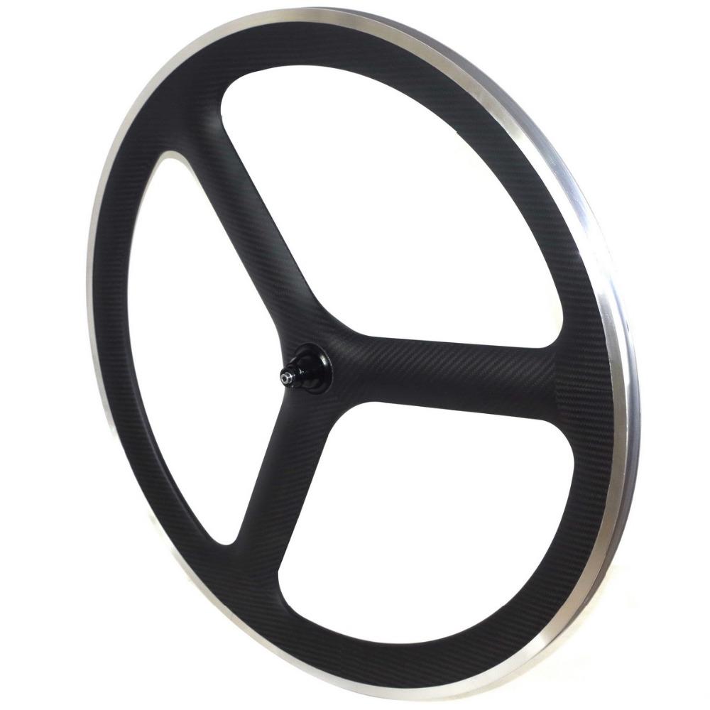 free shipping 700c 3 spoke carbon fiber wheels tri spoke carbon wheels fixed gear wheels road carbon wheelset alloy brake track(China (Mainland))