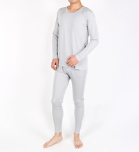 Men's knitted silk thermal underwear suits 100% mulberry silk pure color long sleeve pants long Johns(China (Mainland))