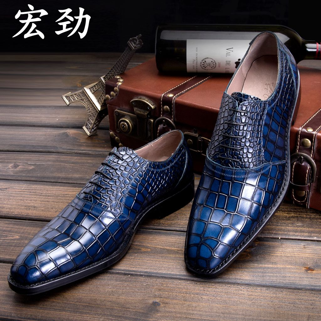 Wang Jin dress business Italy small crocodile leather men's shoes Goodyear handmade shoes(China (Mainland))