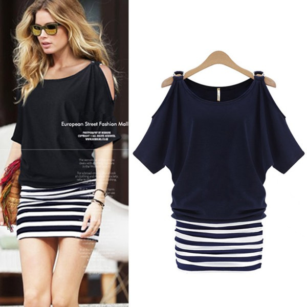 Women Sexy Striped Bodycon Casual Cocktail Party Mini Dress Summer Dresses(China (Mainland))