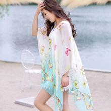 Summer sunscreen silk scarf mantillas scarf cape summer long design beach towel female scarf magicaf cape(China (Mainland))