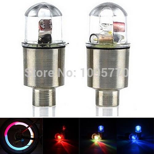 A2 Free Shipping 1 Pair LED Cycling Bike Bicycle Neon Car Wheel Tire Valve Caps Wheel Lights L0786 P(China (Mainland))