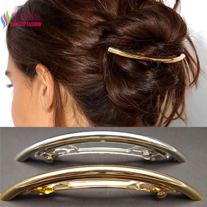 cool fashion gold/silver plated plain ARC tube big hairgrip hair clips accessories jewelry women accesorios para el cabello(China (Mainland))