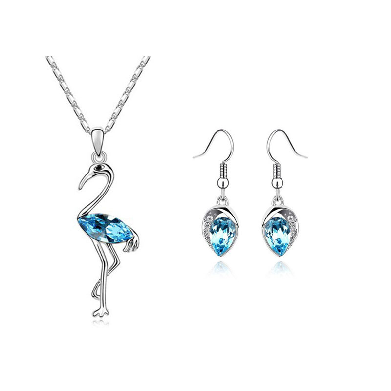 Fashion Crane Dance Zi crystal pendant drop earrings two-piece suit a small jewelry factory 115 + 049 (Min order $10 mix)(China (Mainland))