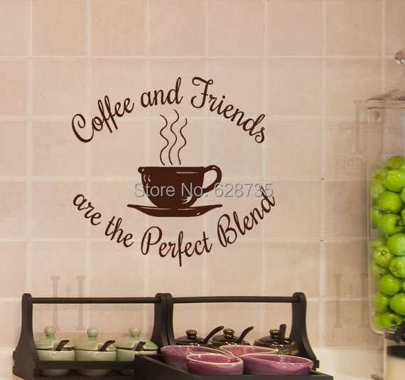 2014 new kitchen coffee quote decals - Coffee and Friends are the Perfect Blend , Coffee Shop decor sticker free shipping F2053(China (Mainland))