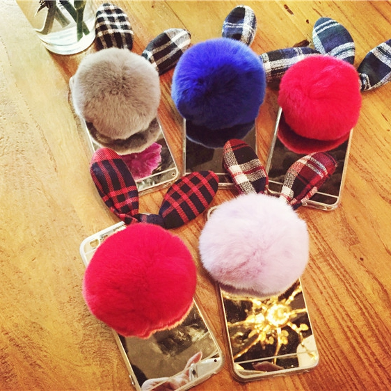 Hair Bulb Phone Cases For Apple iphone 6 6s /6s plus 6plus Rabbit Ear * Acrylic Mirror Phone Bag Luxury Back Hairball Cover(China (Mainland))