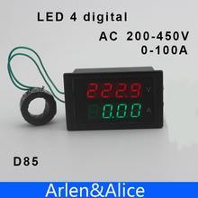 Двойной из светодиодов 4 цифровой дисплей 200 — 450 В 0.00 — 100.0A напряжения и тока приборная панель вольтметр амперметр