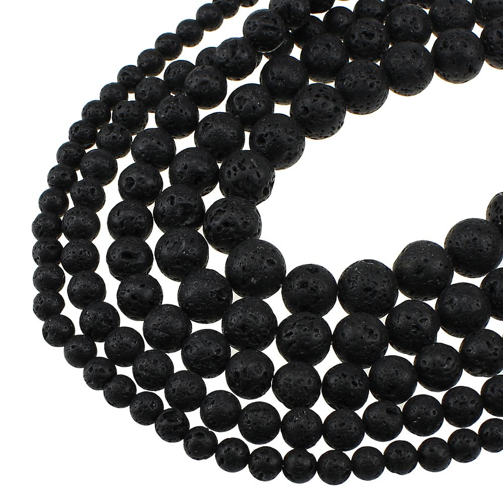 Natural Black Volcanic Lava Stone Round Shape Natural Stone Beads Wholesale DIY Jewelry Bracelet Making 6 8 10 12 14 mm Beads(China (Mainland))