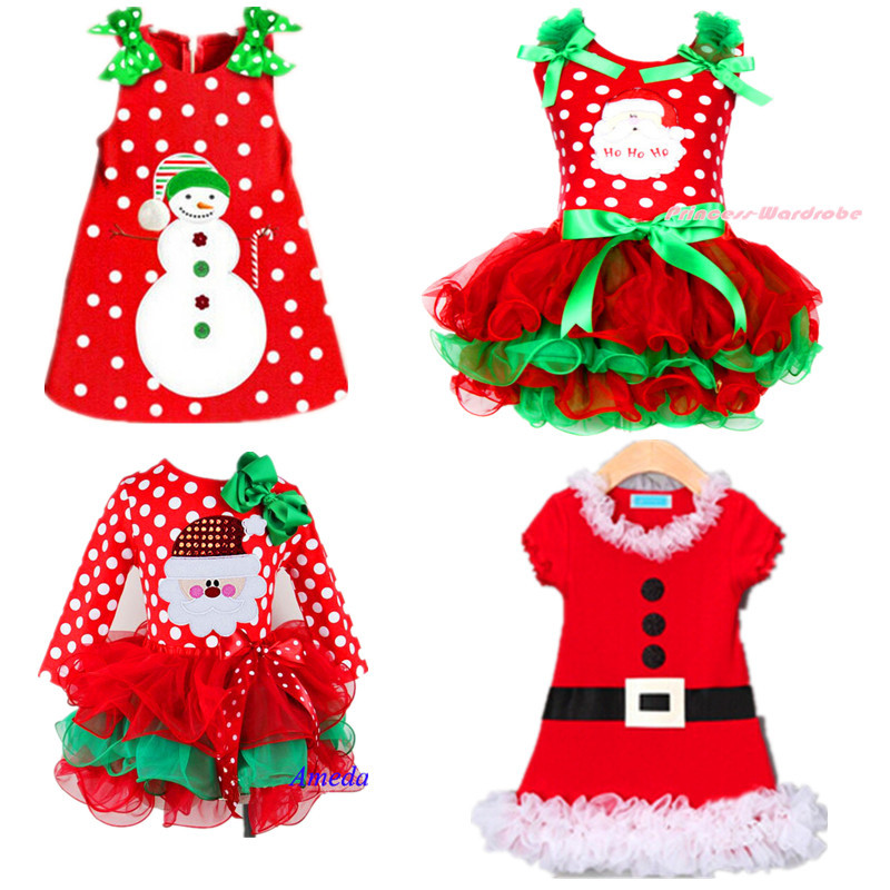 2015 New Baby Girls Christmas Man Dot Dress Costume Cotton children Dresses Christmas Red color children's Clothing 2-6 yrs(China (Mainland))