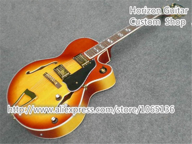 Newest Arrival CES Model 6 Strings Electric Jazz Guitar Sunburst Split Block Inlay Golden Tailpiece In Stock Free Shipping(China (Mainland))