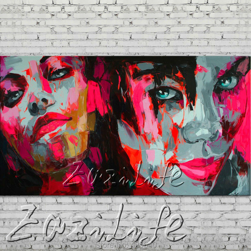 Buy knife portrait Face Oil painting Character figure canva Hand painted Francoise Nielly  Art picture  room84 cheap