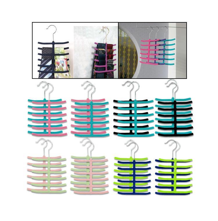16 Pcs Necktie Belt Scarf Tie Hanger Holder Rack Closet Organizer Velvet Cloth EN0917(China (Mainland))