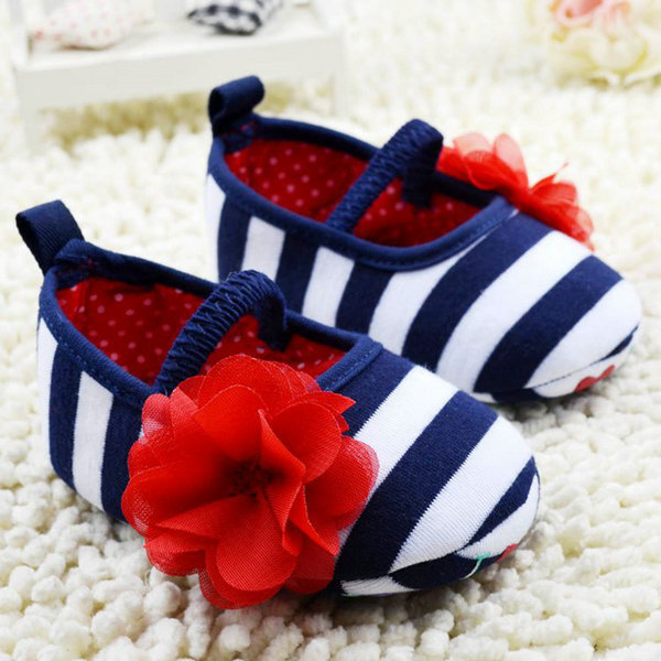Infant Toddler Stripe Flower Crib Shoes Soft Sole Kid Girls Baby Shoes Prewalker Drop&Free Shipping