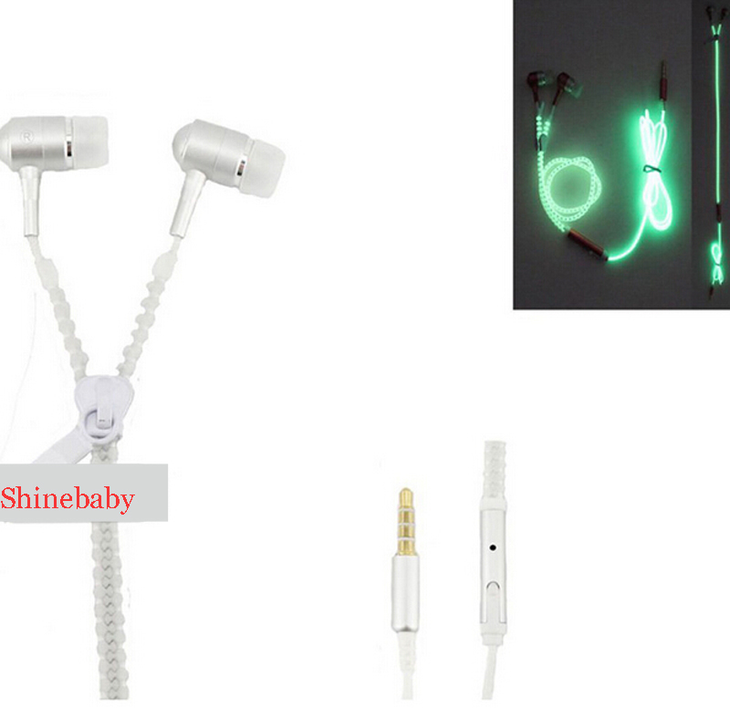 BluShell 2016 Night Luminous Zipper Headset Sport phone earphone With microphone For All Cellphones Mobile Phones