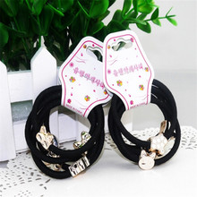 5ps/set New Girl Lovely Bead Rubber Elastic Hair Band Rope Scrunchie Ponytail Holder Woman Accessories(China (Mainland))
