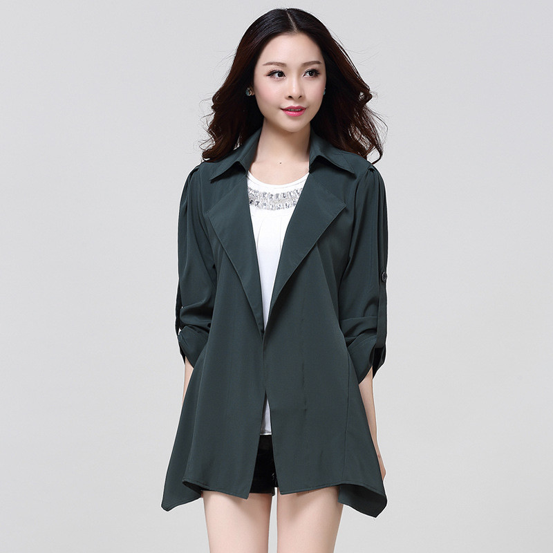 Big yards Nice new trench coat long sections chiffon Open stitch overcoat fashion women Trench coat solid color outerwear TT538(China (Mainland))