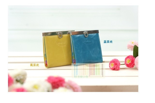 hot sale lady wallet PU shiny wallet candy color wallet free shipping wholesaler