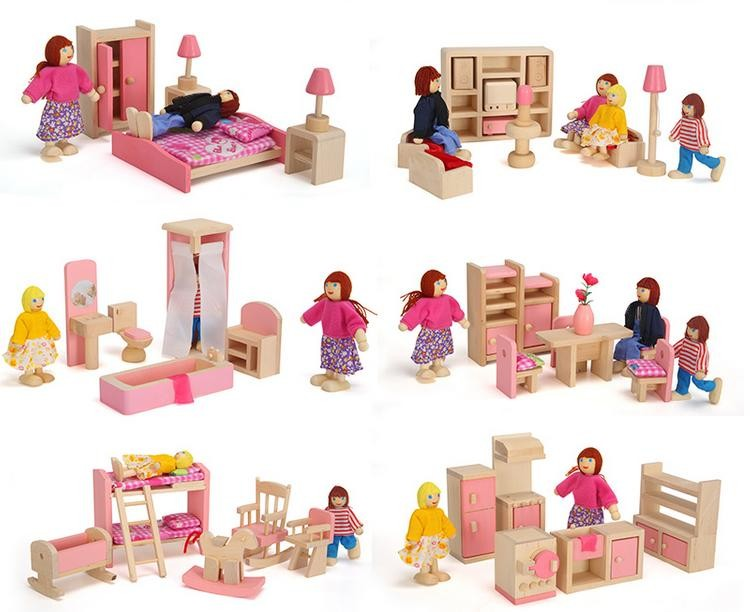 Wooden Pink Miniature Dollhouse Furniture Kids Toys Set Bedroom Kitchen Dinner Living Room Bathroom Pretend Play Toy For Girls(China (Mainland))