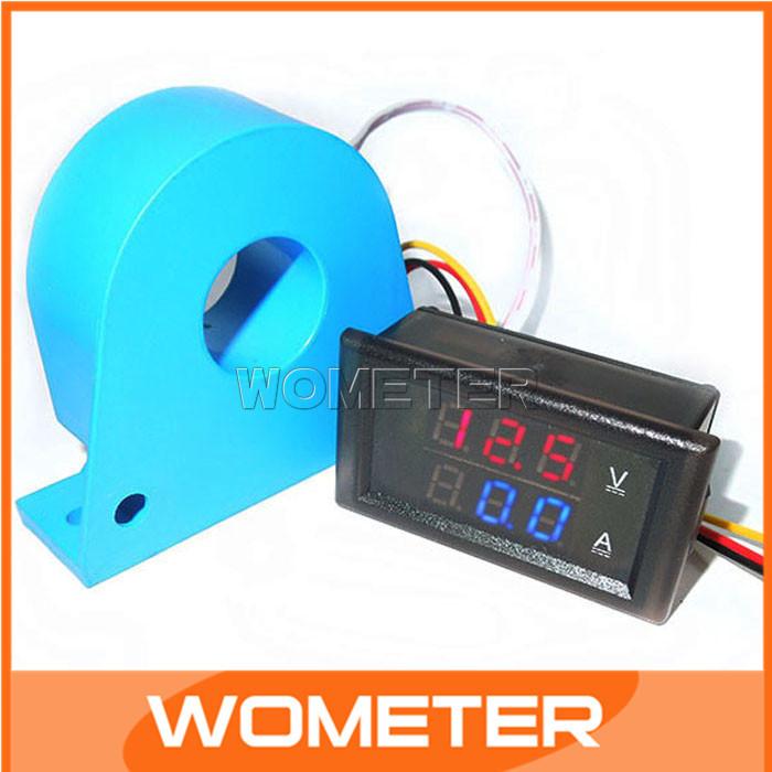 DC 100A/200A Digital Volt  Amp Measure Meter Red Blue Display Digital Voltmeter Ammeter  with Current transformer CT #200965