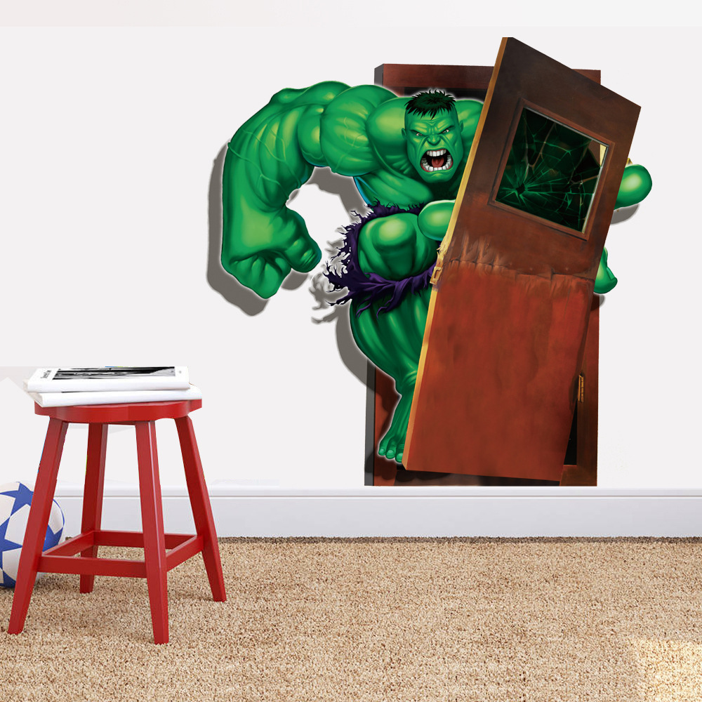Latest 3D Super Hero Marvel Party Decoration Wall Sticker The Hulk Decal Home Decor Wall Sticker for Kids Room(China (Mainland))