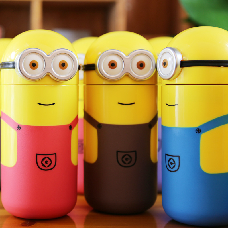 F Creative Cartoon Small Yellow Minions Water Bottle Children Cute Glass Kettle Student Anti Hot Cup Direct Drinking Bottles(China (Mainland))