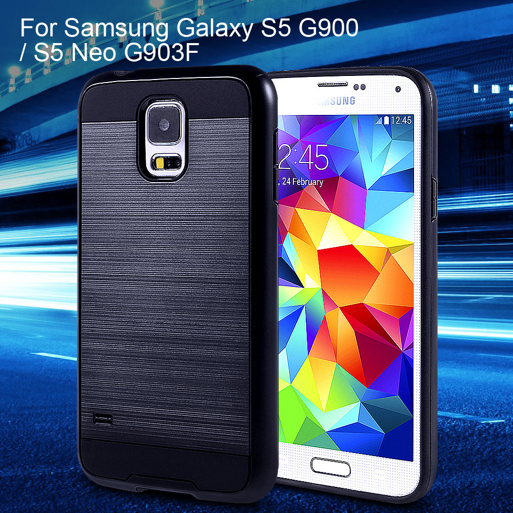 For Samsung S 5 Neo Phone Cover Brushed Plastic + TPU Phone Case for Samsung Galaxy S5 G900 / S5 Neo G903F(China (Mainland))