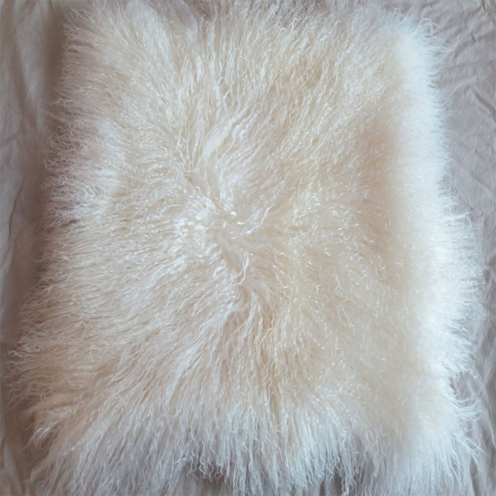 Natural White Mongolian Fur Pillow Cover Decorative Pillows Fur Cushion Cover Covers For Sofa Chair Cushion Christmas Pillow(China (Mainland))