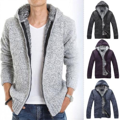 Winter&Autumn Warm Jacket Fur Wool Lining Hoodie Knitted Long Hooded Coat