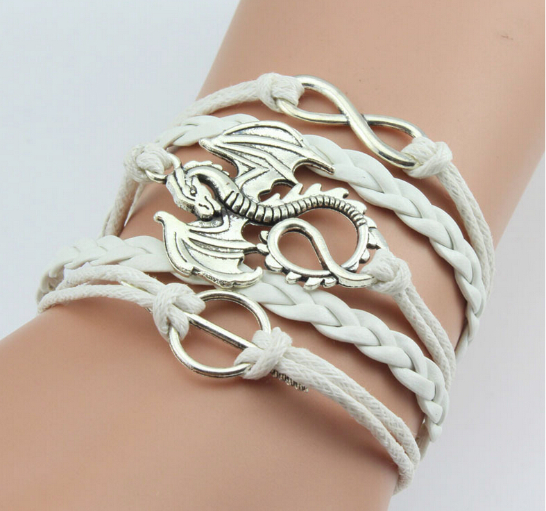 Game of thrones leather bracelet dragon charm free for Dragon gifts for men